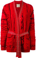 Laneus embellished intarsia-knit cardigan - women - Cotton/Polyamide/Viscose - 40