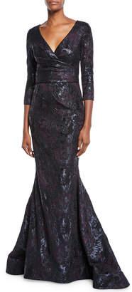 Theia 3/4-Sleeve Super-Stretch Jacquard Mermaid Dress
