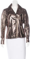 Naeem Khan Leather Metallic Jacket