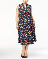 Anne Klein Plus Size Printed A-Line Midi Dress
