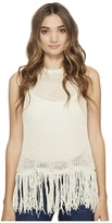 Michael Stars Cotton Slub Split Back Fringe Tank Top