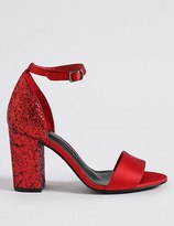 Marks and Spencer Block Heel Sparkle Court Shoes