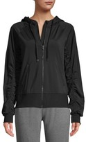 Athletic Works Women's Athleisure Zip Front Hooded Jacket with Shirred Sleeves
