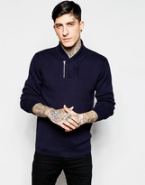 Lindbergh Jumper With Zip Shawl Neck - Navy