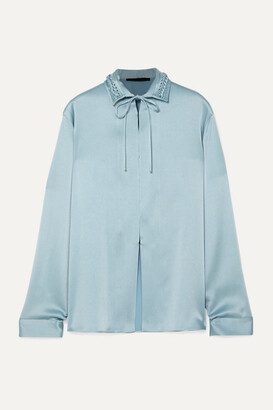 Haider Ackermann Tie-neck Braided Satin Blouse - Blue