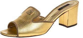 Dolce & Gabbana Metallic Gold Lizard Leather Open Toe Sandals Size 41