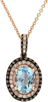 Effy 14K Rose Gold 1.42 Ct. Tw. Diamond & Aquamarine Pendant Necklace