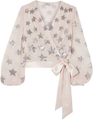 Temperley London Starlet Satin-trimmed Sequined Georgette Wrap Blouse
