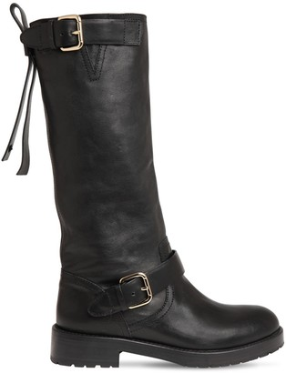 RED Valentino 30mm Leather Biker Boots