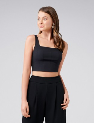 Forever New Carly Square Neck Fitted Crop Top - Black - 16