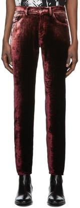 Saint Laurent Burgundy Velvet Trousers