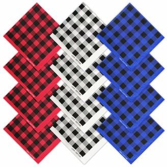 HANGNUO 12 Pack Cotton Handkerchiefs Buffalo Checkered Plaid Hankies Pocket Square Towel Bandanas for Men Women 22 Inches