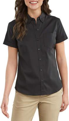 Dickies Womens Stretch Poplin Short Sleeve Button-Front Work Shirt