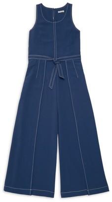 Habitual Girl's Contrast Stitching Denim Jumpsuit