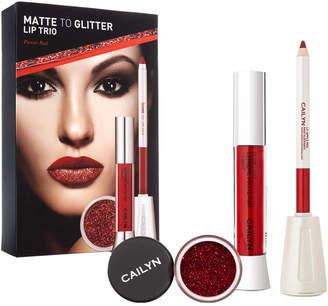 Cailyn Cosmetics Red Matte To Glitter Lip Trio: Matte Tint Gloss, Lipliner, Glitter