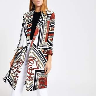 River Island Womens Brown print longline blazer