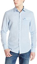 Original Penguin Men's Long-Sleeve Cotton-Linen Button-Down Shirt