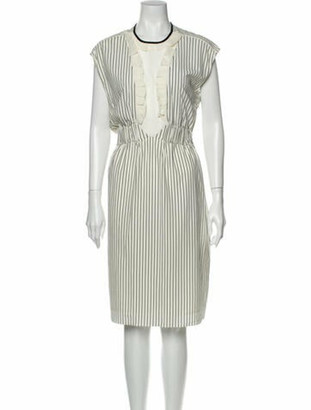 Louis Vuitton Silk Midi Length Dress White