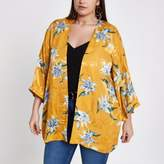 River Island Womens Plus yellow jacquard floral print kimono