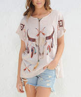 Paparazzi Taupe Cow Horn Feather Short-Sleeve Top