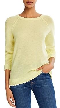 Minnie Rose Distressed Crewneck Cashmere Sweater