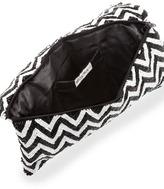 Moyna Chevron Beaded Clutch Bag, Black/White