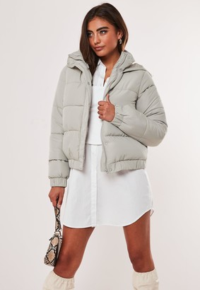 Missguided Petite Grey Hooded Puffer Cropped Jacket