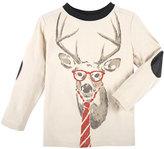 Andy & Evan Long-Sleeve Reindeer Jersey Tee, Oatmeal, Size 2-7