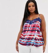 Outrageous Fortune Plus lace trim cami top in multi swirl print
