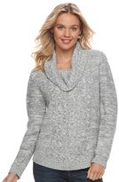 It's Our Time Juniors' Cowlneck Cable-Knit Tunic