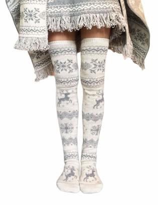 Huyghdfb Women Christmas Reindeer Winter Warm Over The Knee High Socks Knit Long Boot Socks Leg Warmer (Gray One Size)