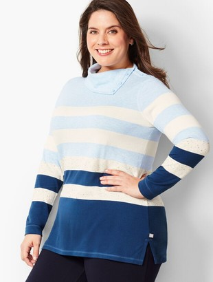 Talbots Stripe Button-Cowlneck Top