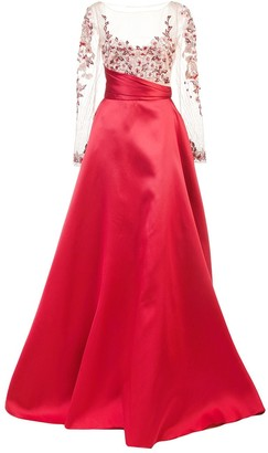 Marchesa Empire Line Flared Dress