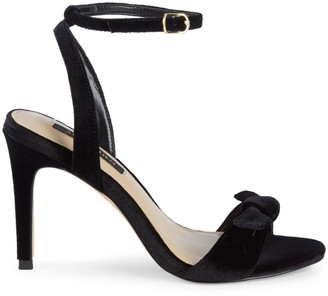 Ava & Aiden Charlee Velvet Bow High-Heel Ankle-Strap Sandals