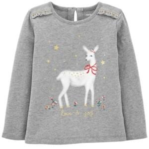 Carter's Toddler Girl Reindeer Christmas Jersey Tee