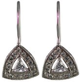 Sterling Silver Cubic-Zirconia Triangular Dangle Earrings