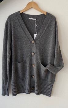 Sunday in bed - Vicky Cardigan - grey | M (10) - Navy blue/Grey/Grey