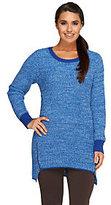 Denim & Co. Petite Marled Sweater with Zipper Detail
