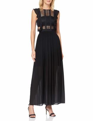 APART Fashion Women's Apart Elegantes Damen Kleid Abendkleid Maxikleid plissiert mit Netz-Oberteil und eingearbeitetem Bandeau Special Occasion Dress