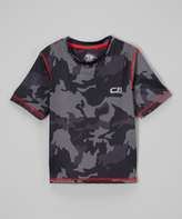 CB Sports Black & Red Camo Athletic Tee - Kids