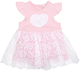 Cutie Pie Baby Pink & White Heart Lace-Skirt Angel-Sleeve Dress - Infant