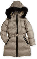 Burberry Consillia Hooded Fur-Trim Puffer Jacket, Brown, Size 4-14