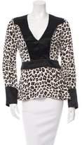 Veronica Beard Embellished Leopard Print Top