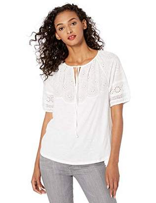 Lucky Brand Women's Embroidered Cut Out Peasant TOP