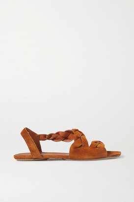 KHAITE Braided Suede Sandals - Camel