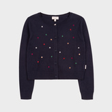 Paul Smith Girls' 7+ Years Navy Cotton-Cashmere Embroidered 'Spot' Cardigan
