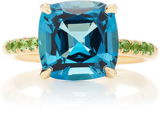 Jane Taylor Cirque Solitaire Color Pavé Band Ring with London Blue Top