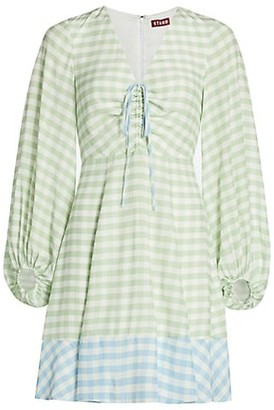 STAUD Olivier Gingham Mini Dress