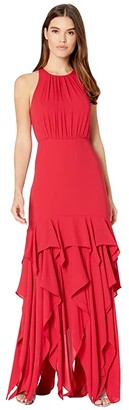 Halston Sleeveless Ruffle Skirt Silky Georgette Gown (Carmine) Women's Dress