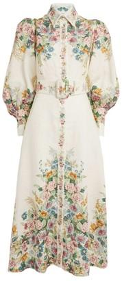 Zimmermann Floral Bell-Sleeve Midi Dress